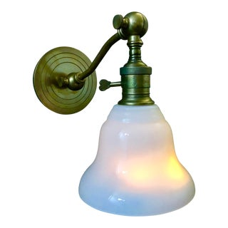 Visual Comfort E. F. Chapman Boston Wall Light in Hand-Rubbed Antique Brass and White Glass For Sale