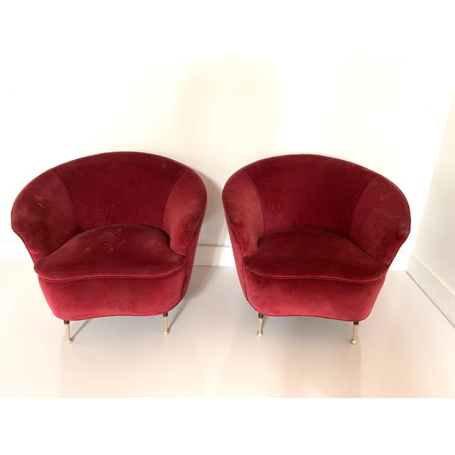 Pair of 1950s Italian Lounge Chairs For Sale In New York - Image 6 of 8