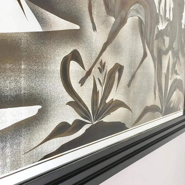 1960s Framed Eglomise Glass Sculptural Wall Panel Circa 1960 For Sale - Image 5 of 6