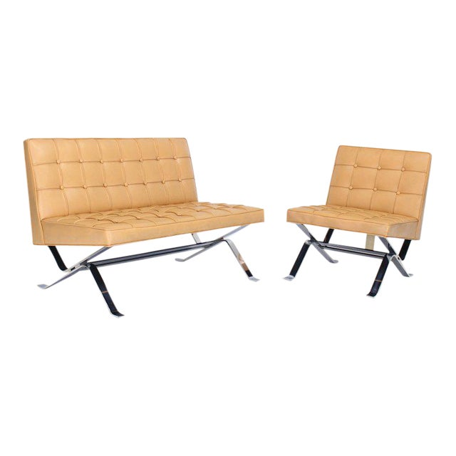 Mid-Century Modern Tufted Upholstery Chrome Base Settee Loveseat and Chair Set - 2 Pieces For Sale - Image 11 of 11