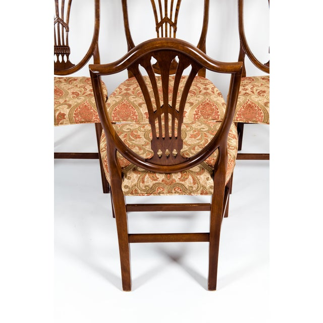Early 20th Century Solid Mahogany Wood Shield Back Dining Chairs - Set of 4 For Sale - Image 5 of 13