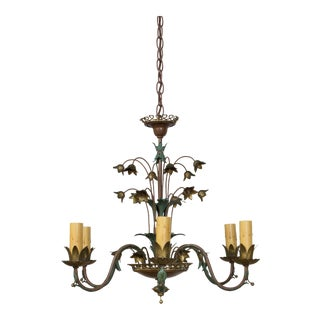 1930s Six Arm Polychrome Tole Chandelier For Sale