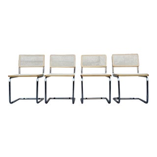 1980s Mid-Century Modern Chrome Wicker Cantilever Chairs - Set of 4 For Sale