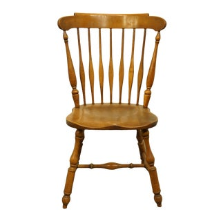 Vintage Mid Century Heywood Wakefield Solid Maple Colonial Style Dining Side Chair For Sale