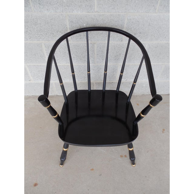 Wood Rousseau Bros. Barrel Back Spindle Black Painted Club Chairs-A Pair For Sale - Image 7 of 11