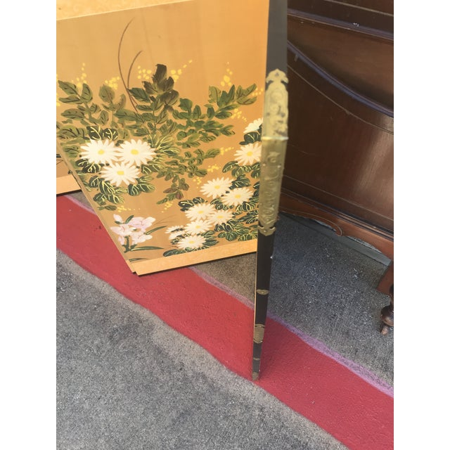 Gold Chinese Hand Painted Floral Screen or Mural For Sale - Image 7 of 12
