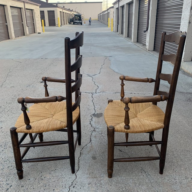 Wood 1980s Vintage French Provincial Ladder-Back Armchairs- a Pair For Sale - Image 7 of 13