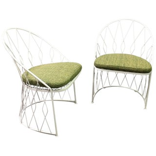 1950s Vintage Salterini Wrought Iron Outdoor Patio Garden Chairs- a Pair For Sale