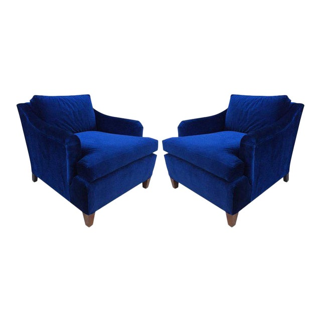 Pair of Art Deco Upholstered Lounge Chairs in Mohair - Image 1 of 3