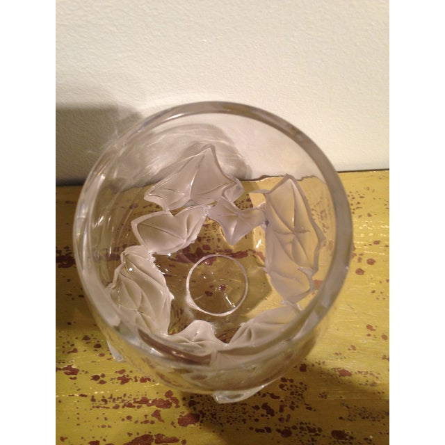 "Lalique Lalique ""Hedera"" Ivy Leaf Vase For Sale - Image 4 of 4"