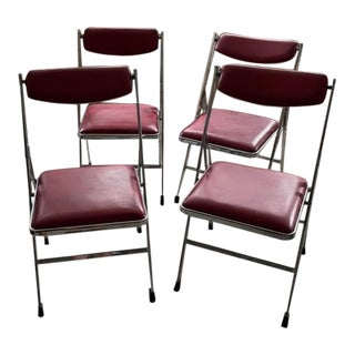 Vintage Italian 1970s Chrome Upholstered Folding Chairs - Set of 4 For Sale
