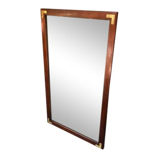 Campaign Walnut & Brass Wall Mirror For Sale