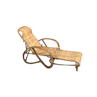 1920s Vintage Rattan Bamboo Reclining Chaise Lounge For Sale