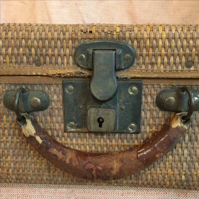 Tan Rattan Suitcase For Sale - Image 8 of 11
