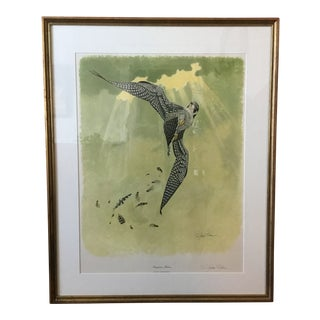 Richard Sloan Signed Framed Lithograph of Peregrine Falcon For Sale