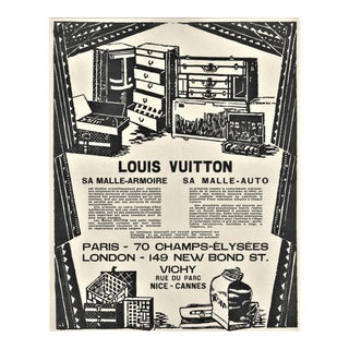 Rare Matted Art Deco Graphic Vuitton Travel Trunk Print For Sale