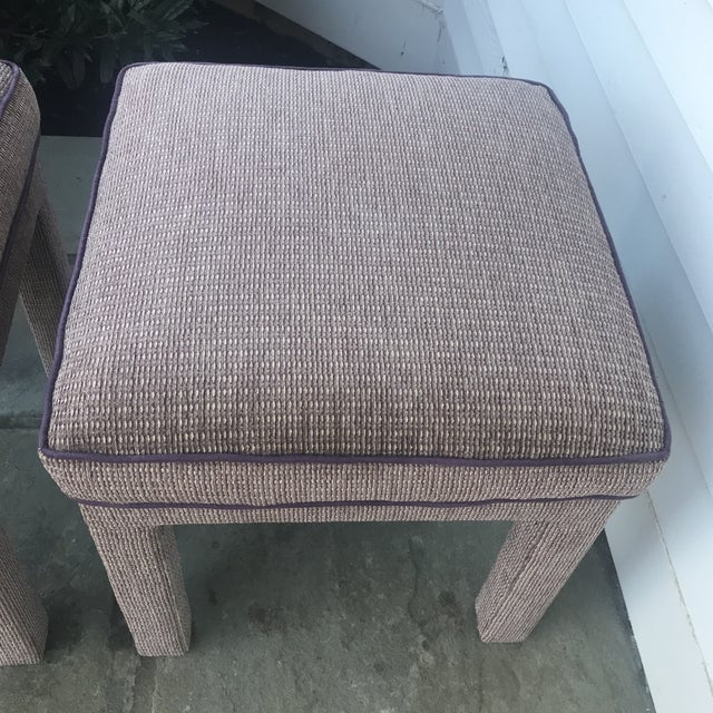 Pair of 1970s Upholstered Parsons Stools For Sale - Image 4 of 8