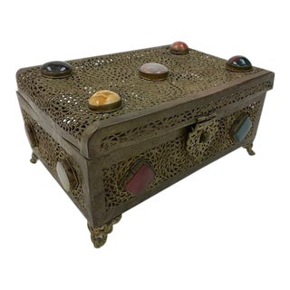 19th Century Victorian Filigree Cabochon Box For Sale