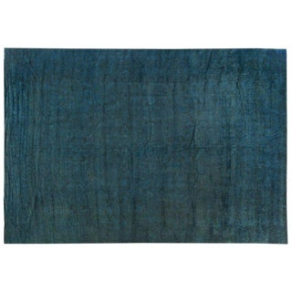 Silky Wool Turquoise Overdyed Rug - 12′ × 17′3″ For Sale