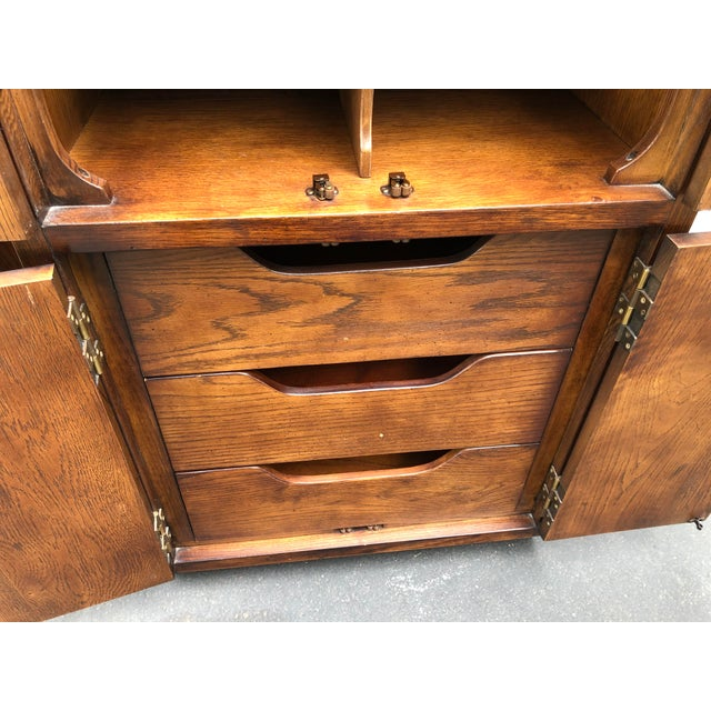 1980s Henredon Scene One Campaign Style Armoire Cabinets 1980s - a Pair For Sale - Image 5 of 12