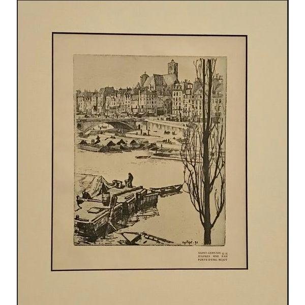 Art Deco 1890s Vintage Saint-Gervais Cityscape (Matted) by Eugene Bejot For Sale - Image 3 of 3