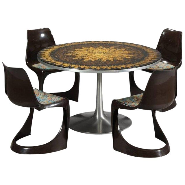 Poul Cadovius 1960s Dining Table in Aluminum and Matching Plastic Dining Chairs For Sale