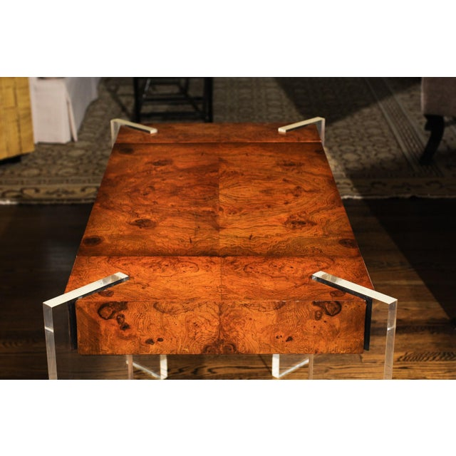 1970s Superb Bookmatch Olivewood Console, Game Table and Writing Desk, Circa 1975 For Sale - Image 5 of 13