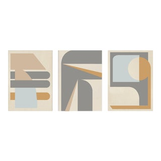 """""""Abstract Blue Camel Graphic - Triptych"""" Contemporary Acrylic Paintings - Set of 3 For Sale"""