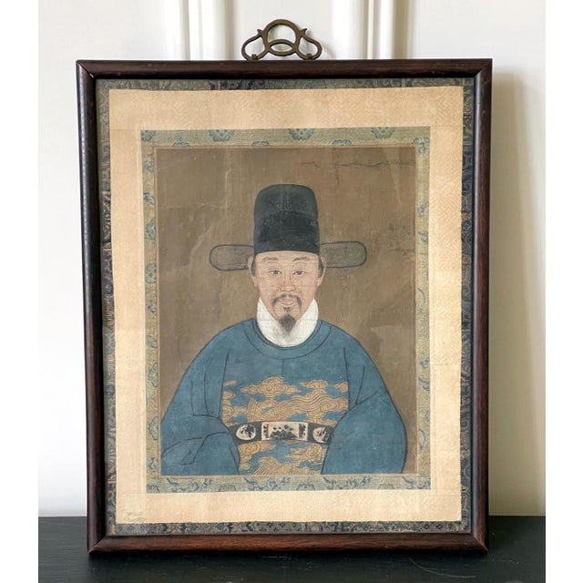 Mid 19th Century Framed Korean Official Portrait Joseon Dynasty For Sale - Image 5 of 11