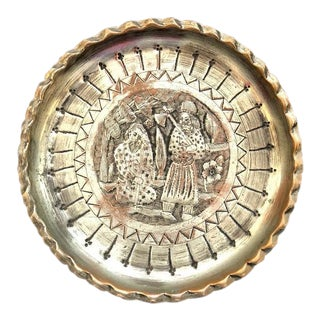 Silver-Plated Copper Hammered Etched Tray For Sale