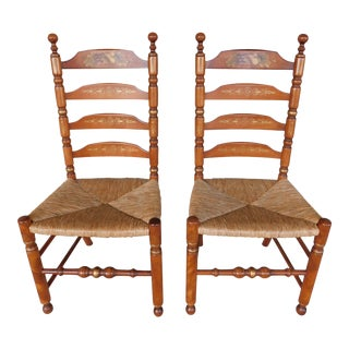 L Hitchcock Harvest Stenciled Ladder Back Rush Bottom Chairs - a Pair For Sale