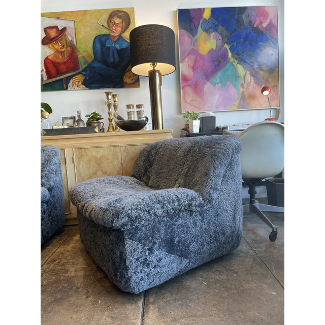 Reupholstered Curly Shearling Swivel Chair - 2 Available For Sale - Image 10 of 10