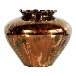1980s Van Teal Metallic Copper Art Pottery Bulbous Form Vase For Sale