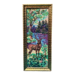 Vintage Deer in Forest Landscape Framed Needlepoint Art For Sale