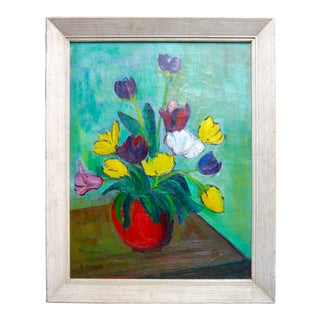 Mid Century Tulip Still Life Oil Painting For Sale