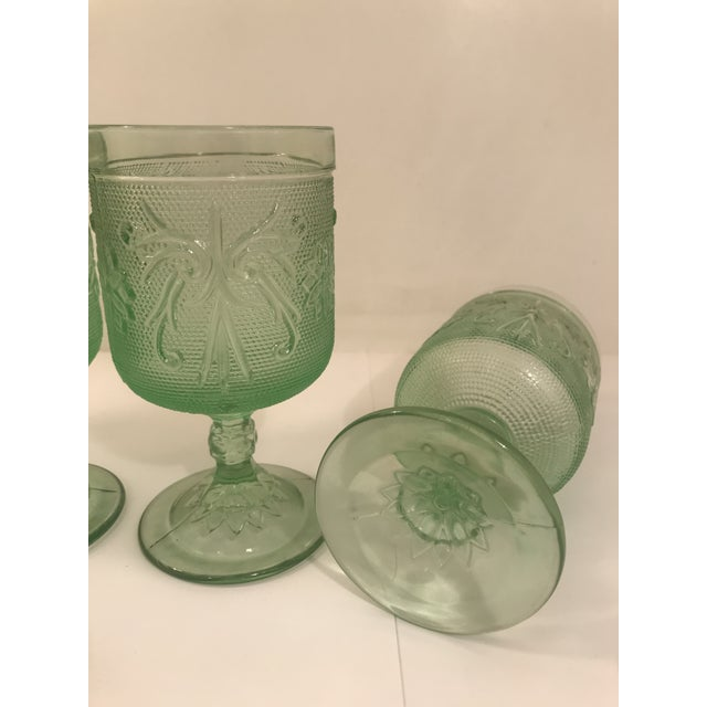 Asian Rare Mint Green Tiara Glass Wine Goblets - Set of 5 For Sale - Image 3 of 5