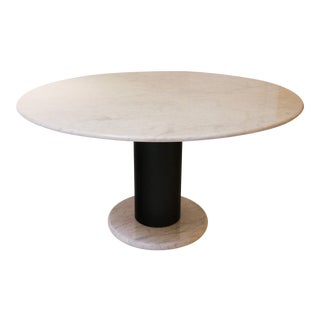 Pedestal Table in Carrara Marble Table by Ettore Sottsass For Sale