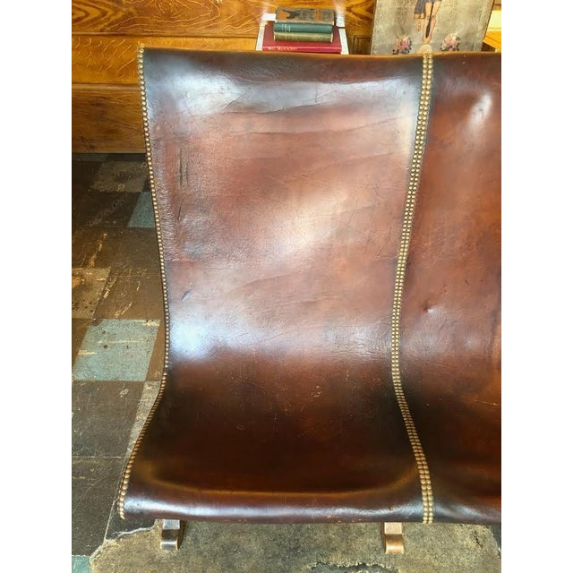 Leather 1950s Vintage Leather Riveted Settee For Sale - Image 7 of 13