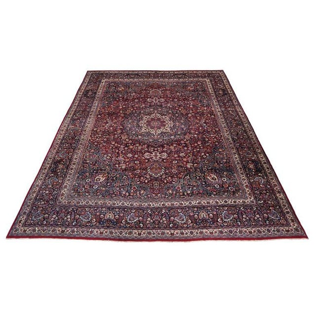 Antique Persian Mashad Rug with Art Nouveau Style For Sale In Dallas - Image 6 of 9