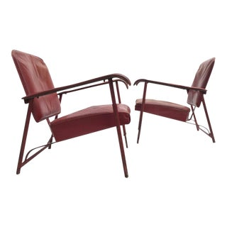 Pair of Adnet Lounge Chairs, Hand Stitched Leather, Price Incl Restoration