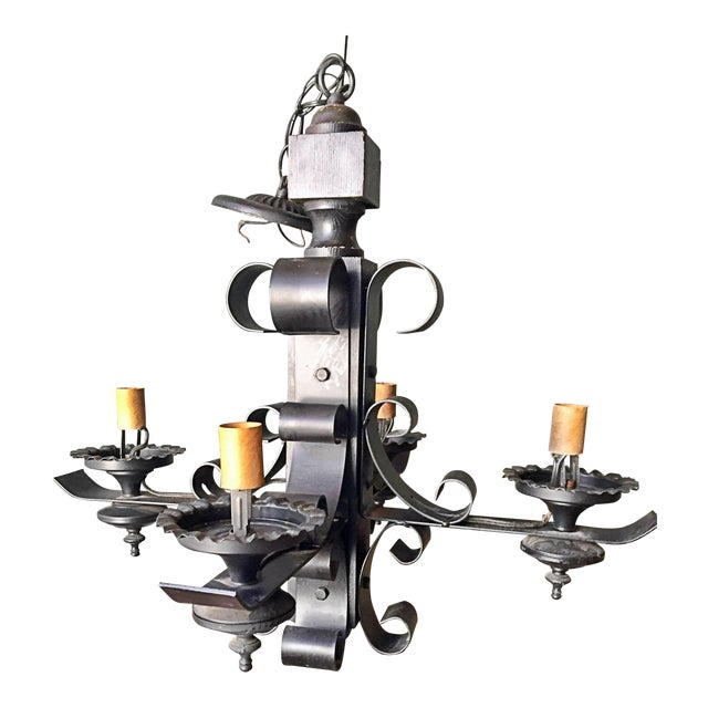Vintage Wrought Iron Wood Gothic Tudor Medieval Chandelier Ceiling Light Fixture For Sale