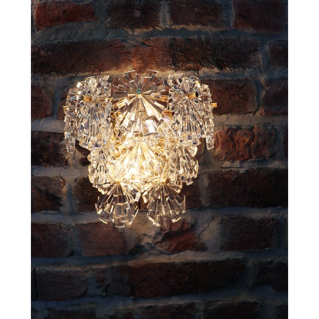 Brass 1970s Germany Kinkeldey Starburst Wall Sconces Crystals on Gilt-Brass - a Pair For Sale - Image 8 of 13