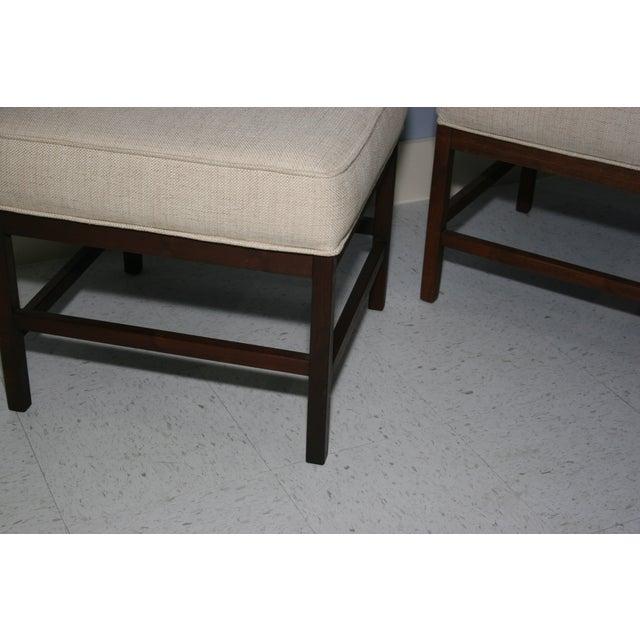 Mid-Century Walnut Frame Upholstered Stools - Pair - Image 5 of 6