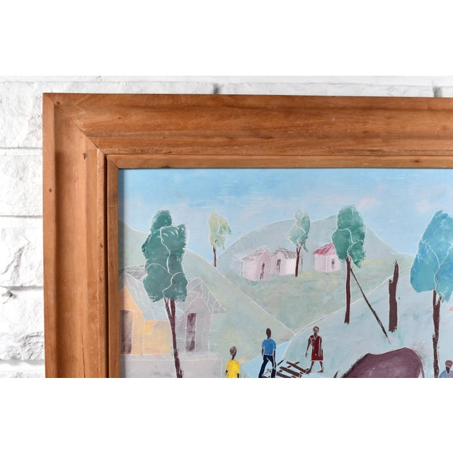 Mid 20th Century Haitian Rural Landscape Painting by Nicolas Dreux, Framed For Sale - Image 4 of 9
