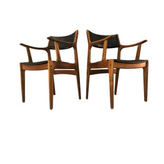 1970s Teak Wood Armchairs - a Pair