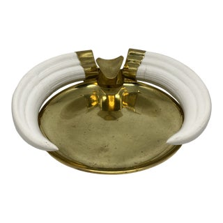 Firenze Italy Resin Horn and Brass Ashtray/Catchall For Sale