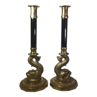 Mid 20th Century Vintage Brass and Black Lacquer Candle Sticks- A Pair For Sale
