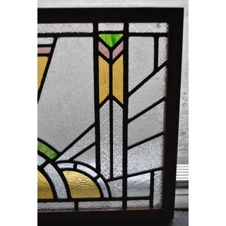 Vintage Art Deco Style English Stained Glass Window Preview
