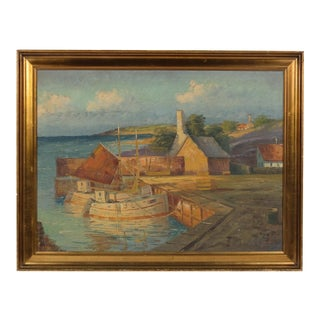 Early 20th-Century Boats in a Harbor Town Landscape For Sale