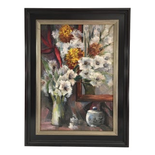 Vintage Mid-Century Still Life With Flowers Oil Painting For Sale